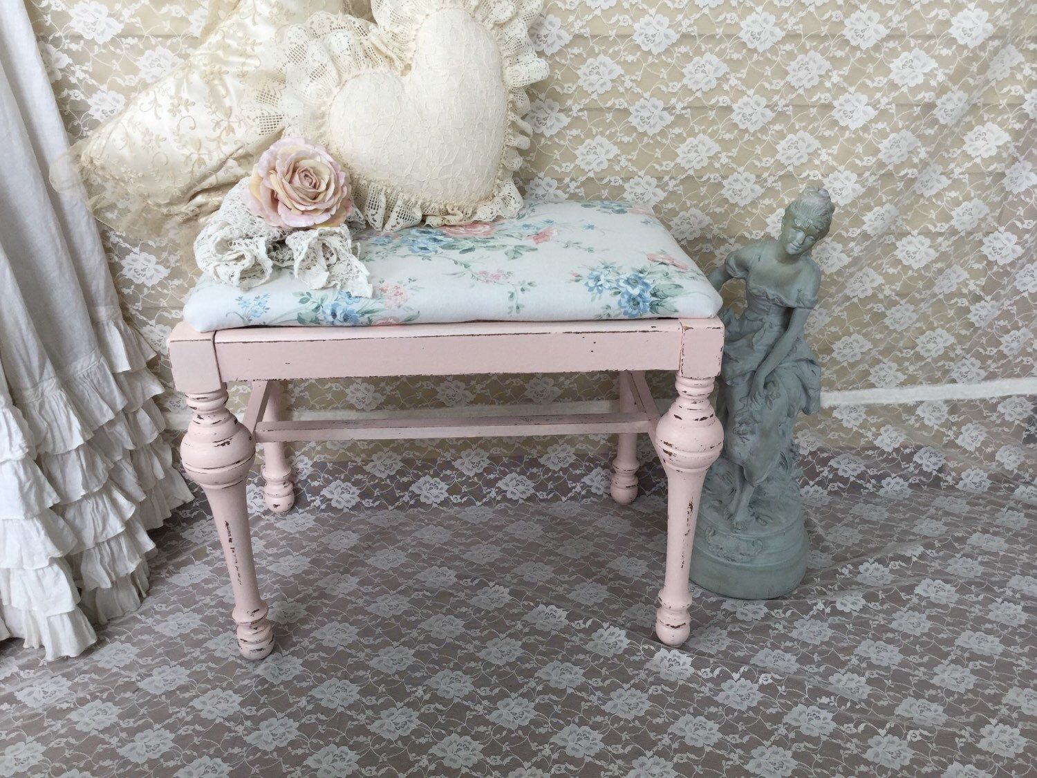RESERVED Shabby Chic Piano Bench,Vanity Bench,Pink floral,chippy ...