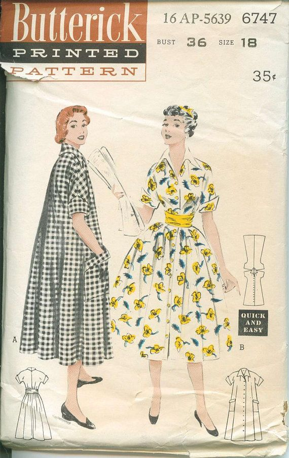 1950s Butterick Dress Coat Pattern | Moda | Pinterest | Costura ...