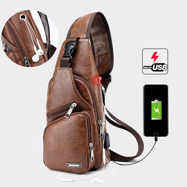 Large Size Outdoor USB Charging Port Chest Bag Travel Daypack Sling Bag  Crossbody Bag For Men