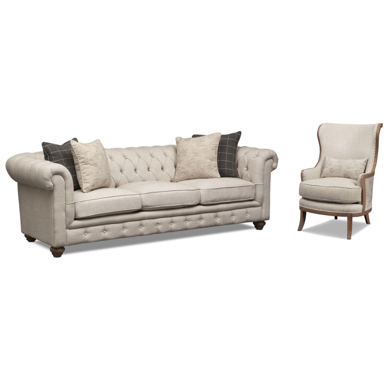 Living Room Furniture - Madeline Beige 2 Pc. Living Room Set w/ Wood ...