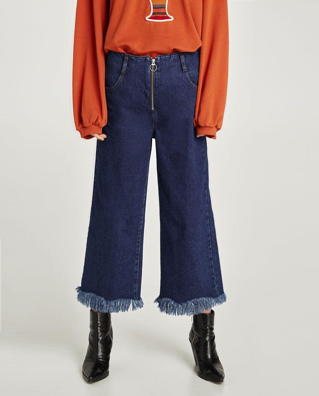 image 3 de jupe culotte en jean taille haute de zara. Black Bedroom Furniture Sets. Home Design Ideas