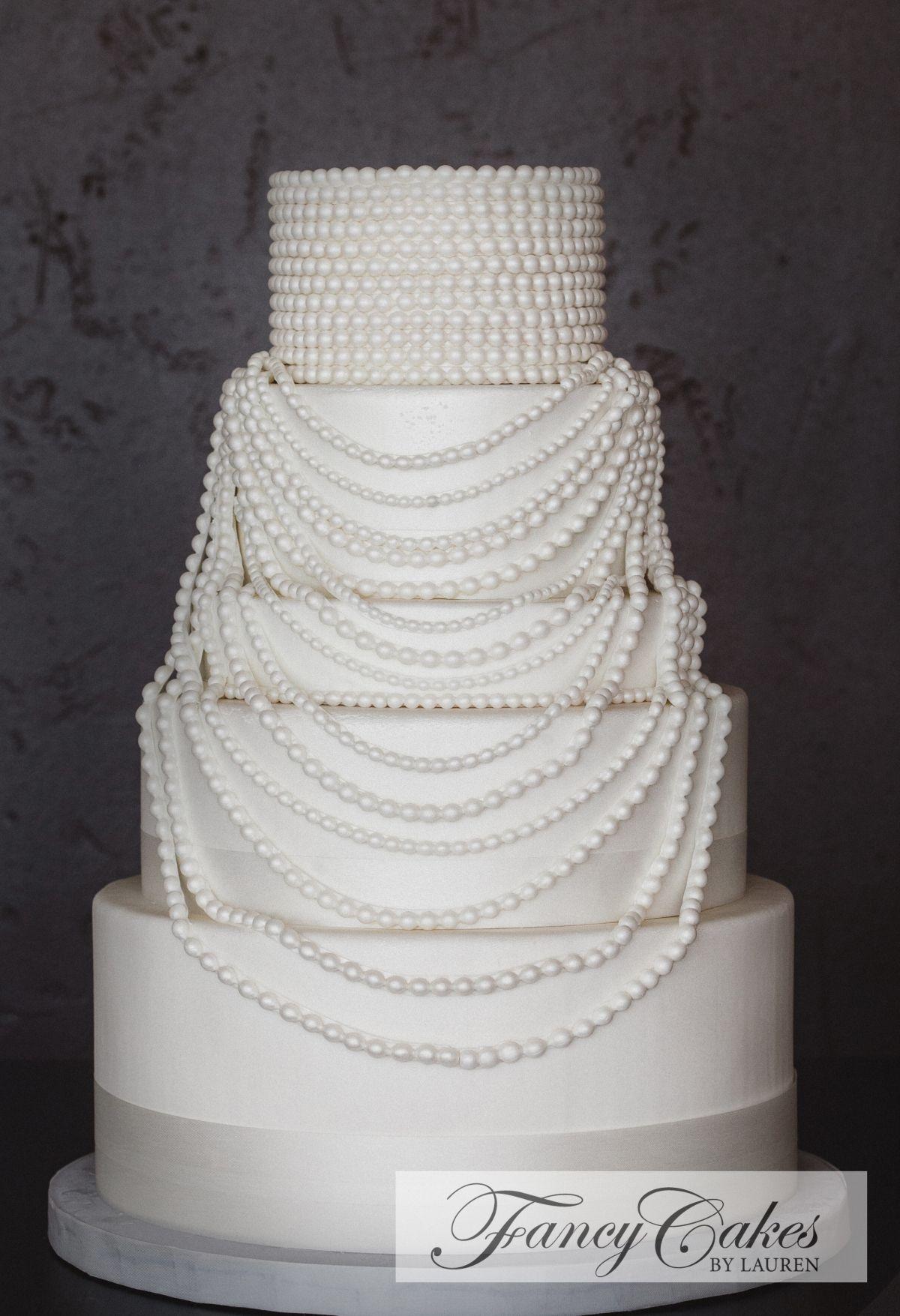Speakeasy Pearl Necklace Wedding Cake | Cakes | Pinterest | Pearl ...