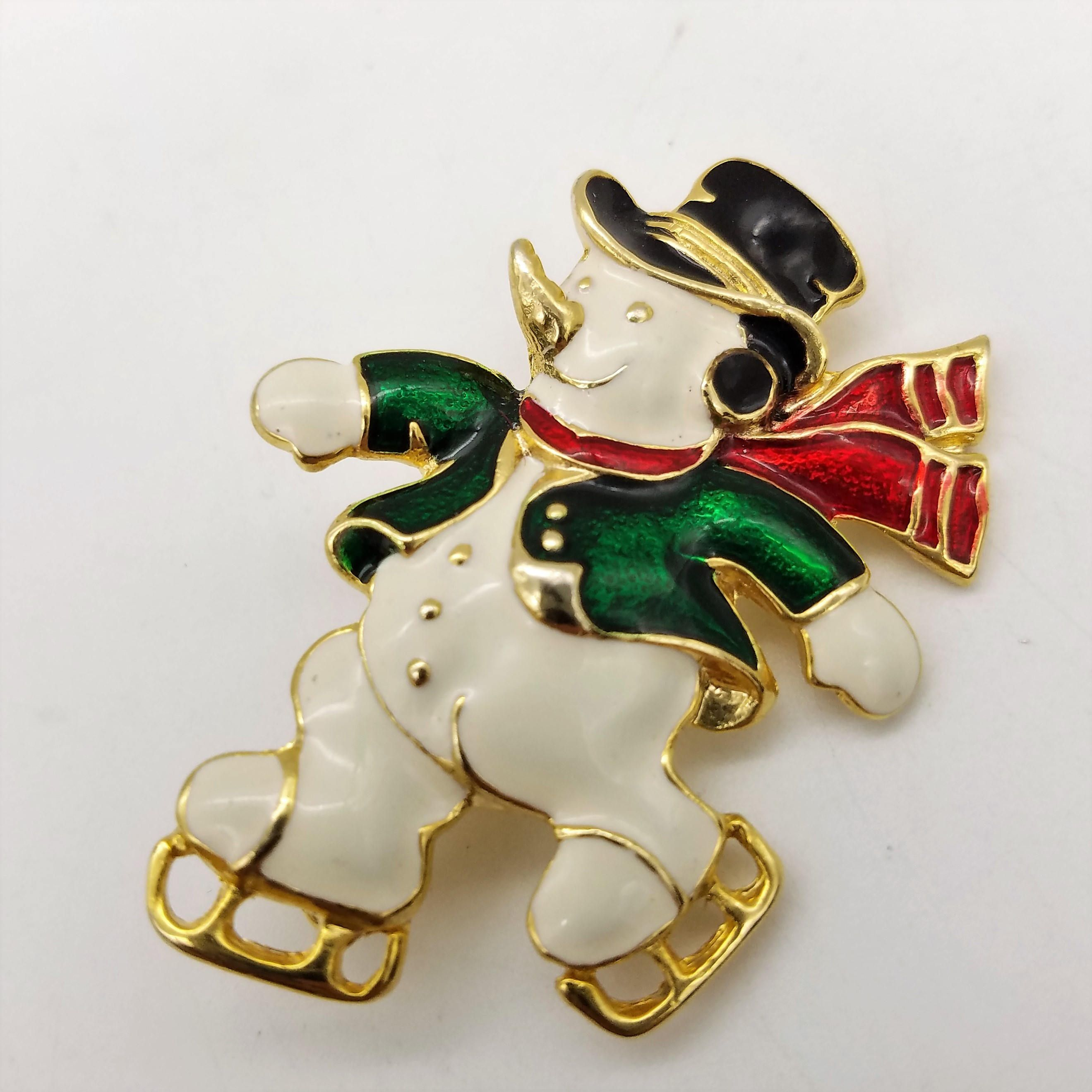 Vintage Skating Snowman Brooch