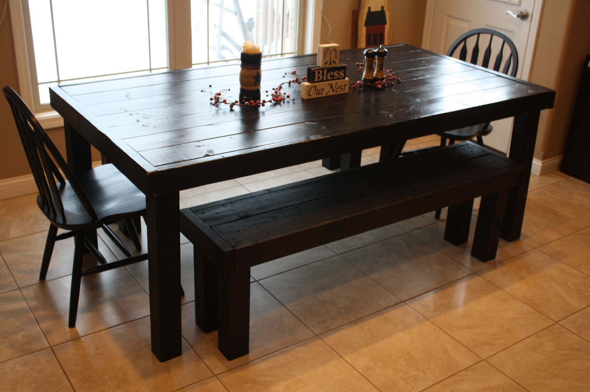 For Sale Primitive Look 80 Black Table Two Benches Bench Price 75 00 Per Bench Table Price 300 0 Solid Wood Kitchens Dining Room Table Black Table
