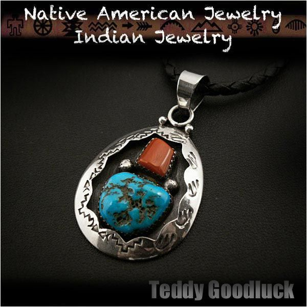 Teddy goodluck native american indian jewelry sterling silver teddy goodluck native american indian jewelry sterling silver turquoise red coral pendant mozeypictures Image collections