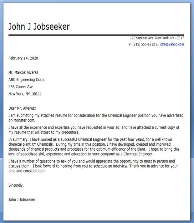 Chemical Engineering Cover Letter | Creative Resume Design Templates ...