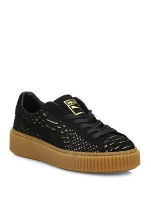 6459f92f474b07 PUMA Basket Snakeskin-Embossed Suede Platform Sneakers. #puma #shoes  #sneakers