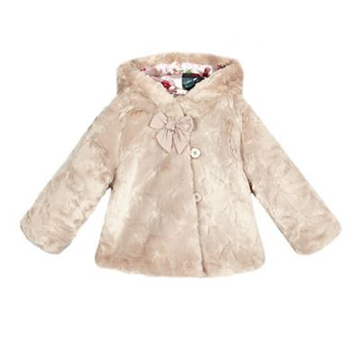 fab2dbe9541f5 Baker by Ted Baker Baby girls  pink faux fur coat-
