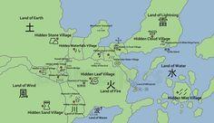 Naruto World Map Lands and Hidden Villages | Naruto | Naruto