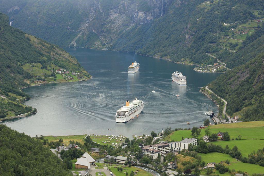 Cruise Ship Traffic Jam In Norway Fjord Norway Fjords Cruise Ship Norway