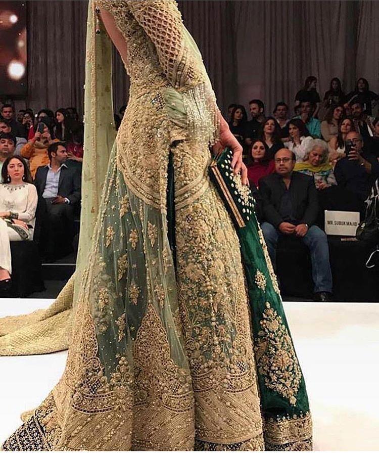 Pakistani Weddding Dress Olive Green