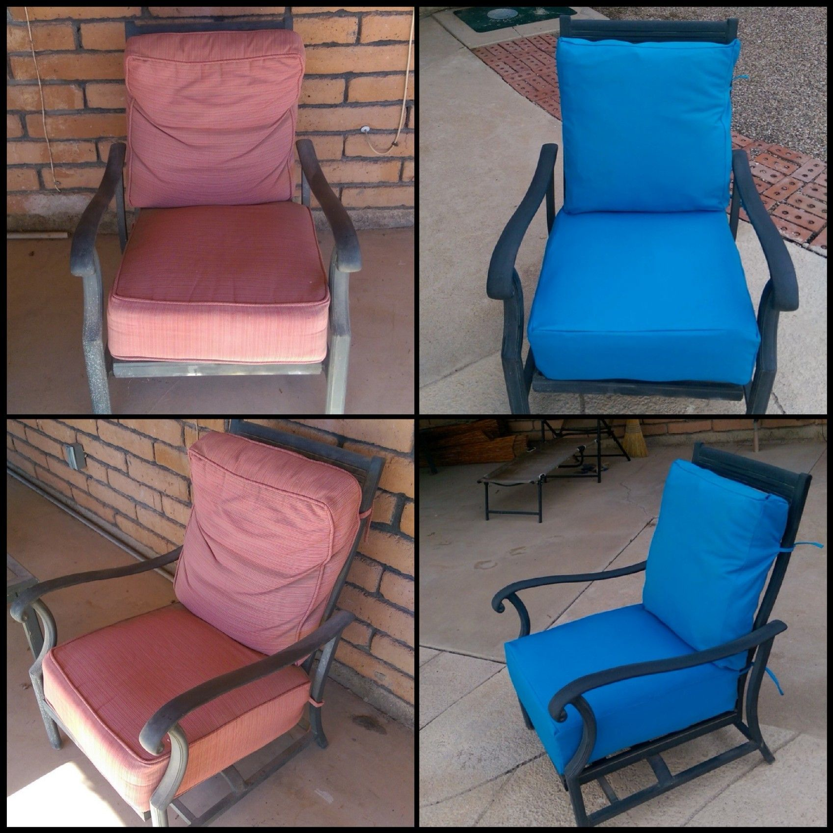 Reupholstered patio cushion covers with Velcro enclosures
