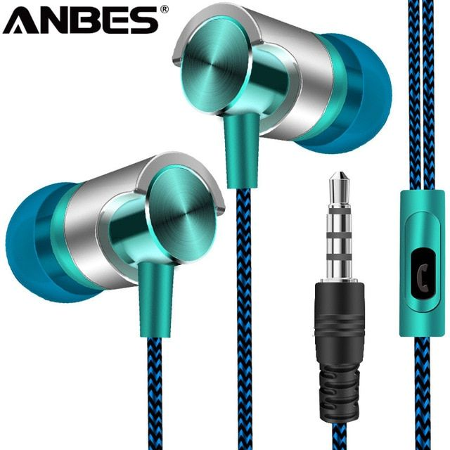 da6f30f933d ANBES Wired Earphone Super Bass Sound Metal Headphones In-Ear Sport Headset  With Mic For Xiaomi Samsung Huawei fone de ouvido Review