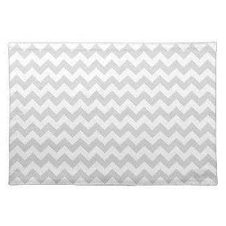Motif en zig-zag blanc gris-clair de Chevron Sets De Table