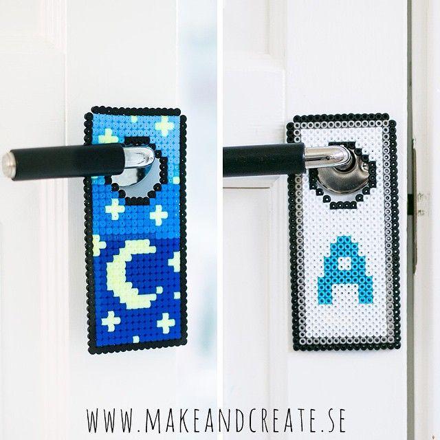 Door hanger hama perler beads by Make & Create | cuelgapuerta ...