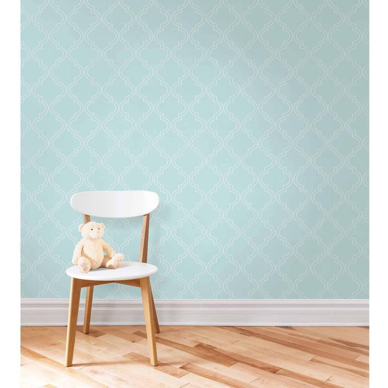 NuWallpaper Blue Quatrefoil Peel And Stick Wallpaper