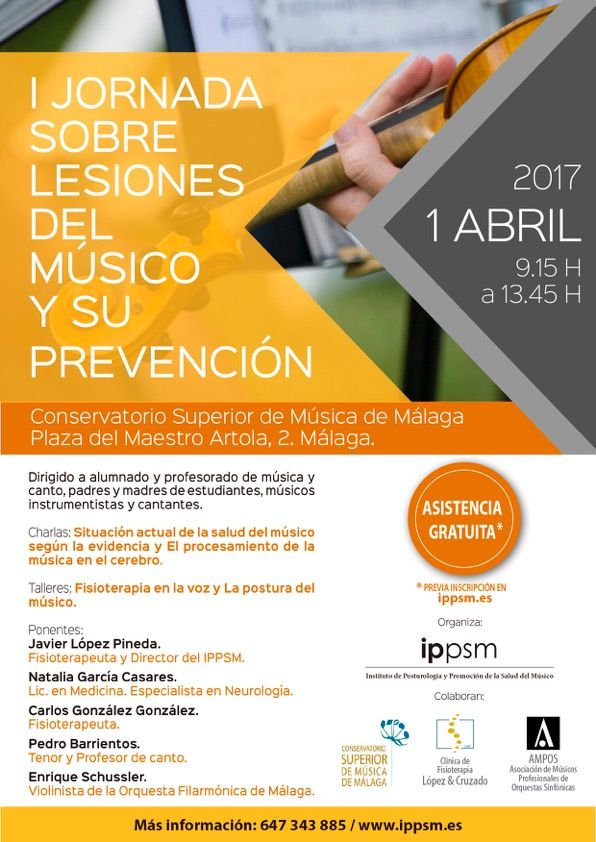 I jornada lesiones musico y prevencion, malaga . http://promocionmusical.es/salud-musica/: