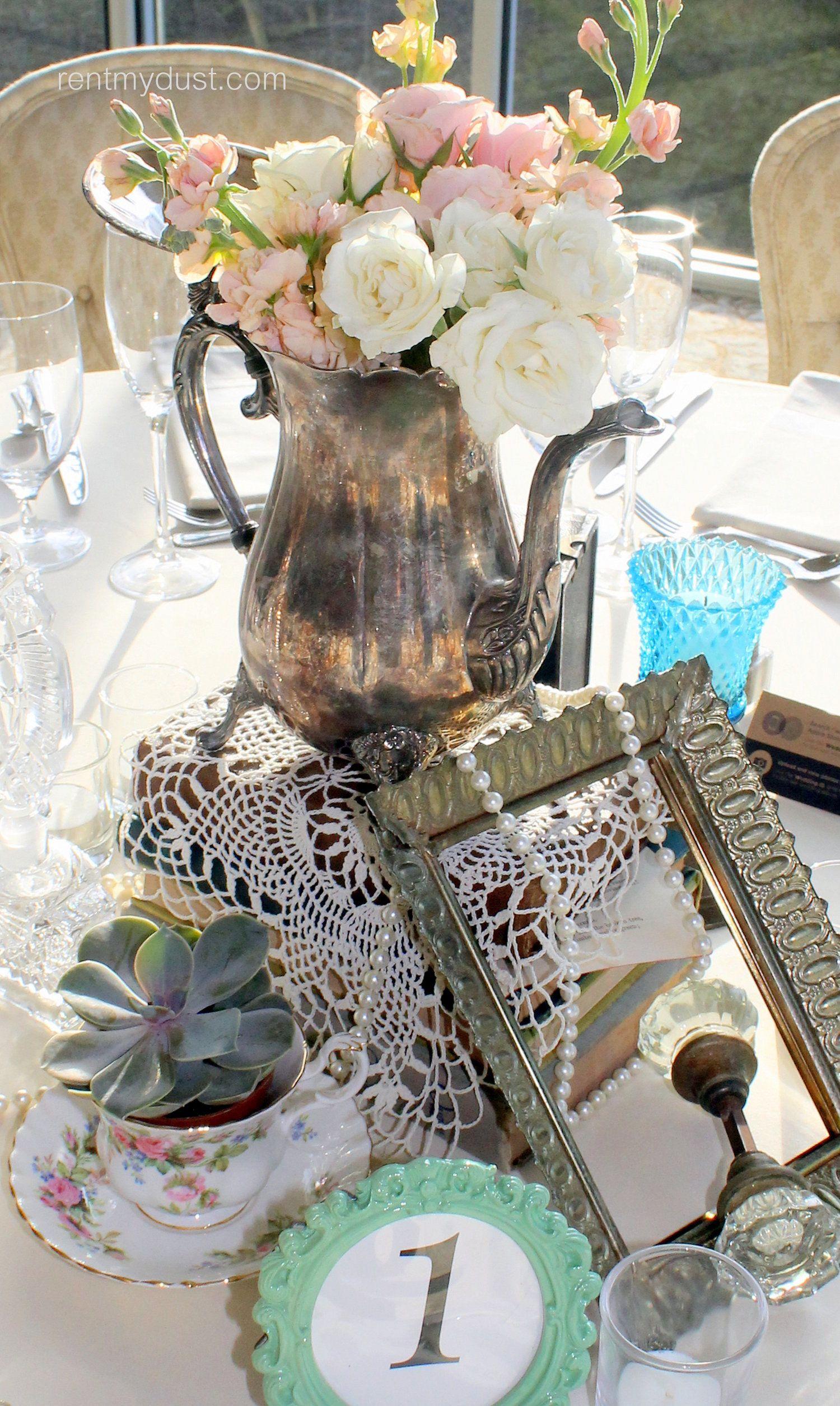 Courtney Bradford Elegant Vintage Wedding At Ashton Garden Rent My Dust Vintage Wedding Table Wedding Table Decorations Vintage Vintage Wedding Table Settings