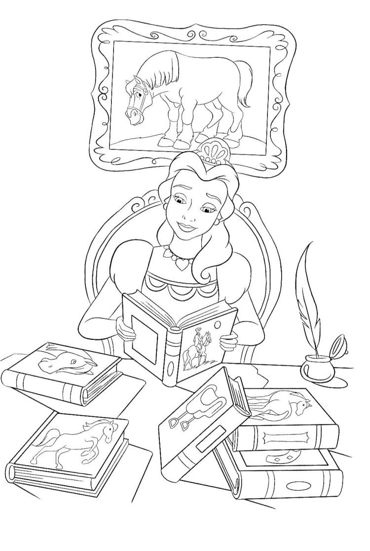 Princess Belle Reading Book Coloring Pages | Coloring Page ...