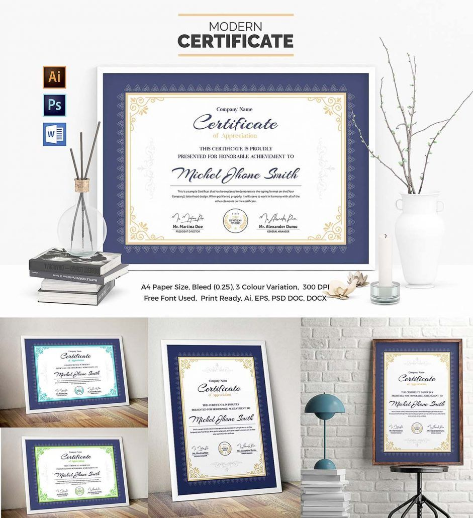 Certificate template set word doc adobe photoshop and adobe certificate template set free download yelopaper Gallery