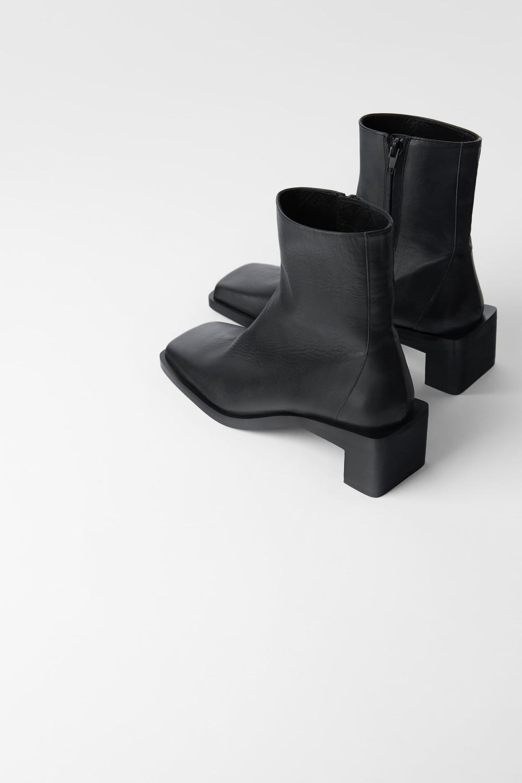 Skorzane Botki Na Obcasie Z Kwadratowym Noskiem Zara Polska Leather Ankle Boots Boots Womens Boots Ankle