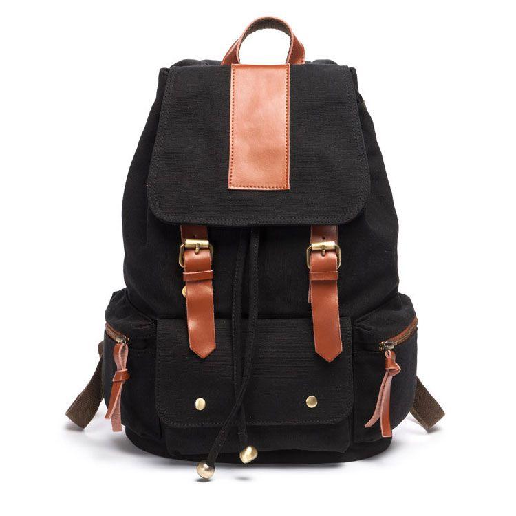 Vintage Nice Large Travel Rucksack Leather Canvas School Backpack For
