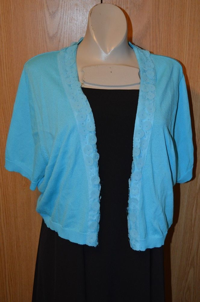 Womens Turquoise Shrug Short Sleeved Sweater Bolero Cato Sz XL ...