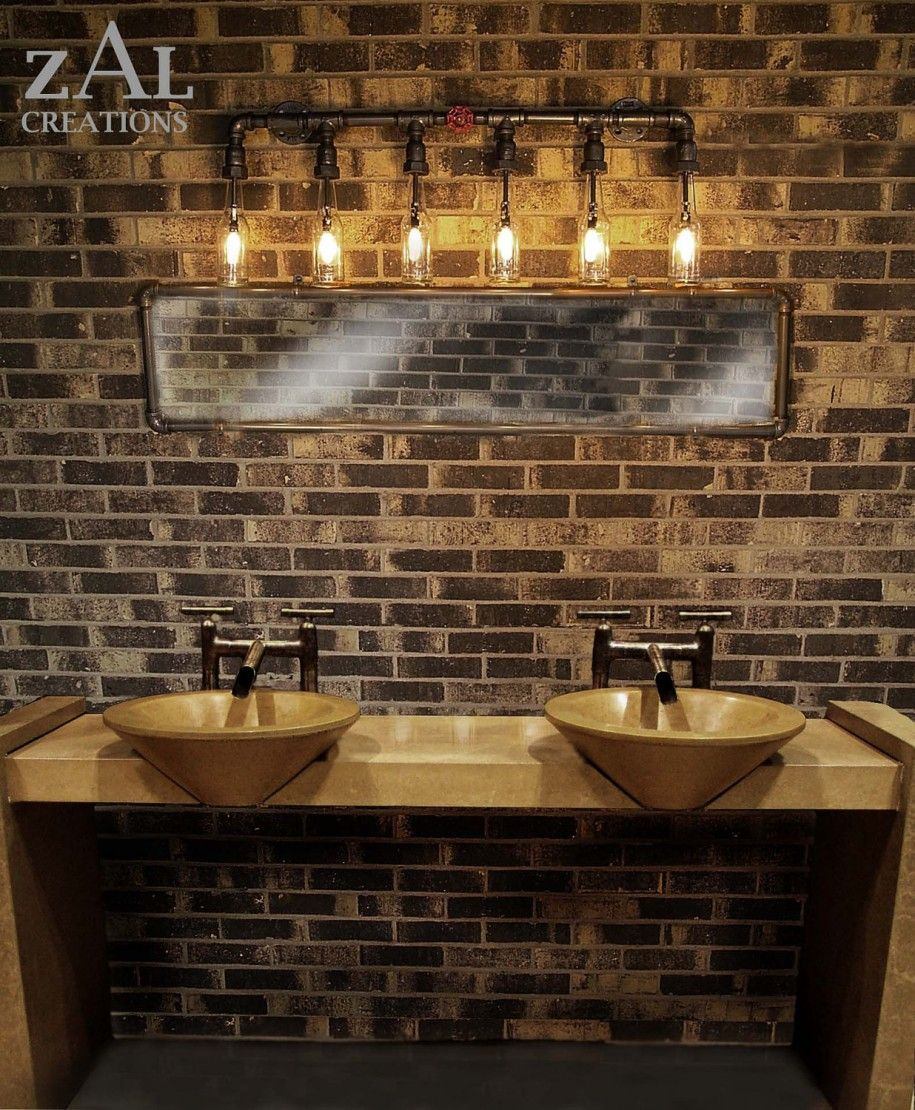 Luxury bathroom accessories ideas with gold wasbasin and bathroom cool idea vanity lamp beer bottles plumbing pipe fittings by zalcreations man cave bathroom lighting arubaitofo Choice Image