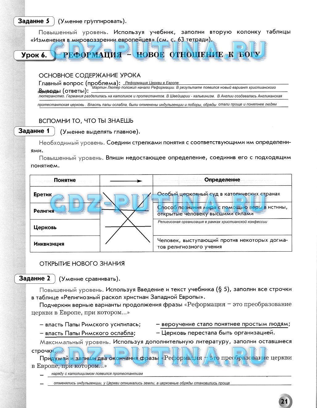 История россии 7 класс рабочая тетрадь ответы онлайн