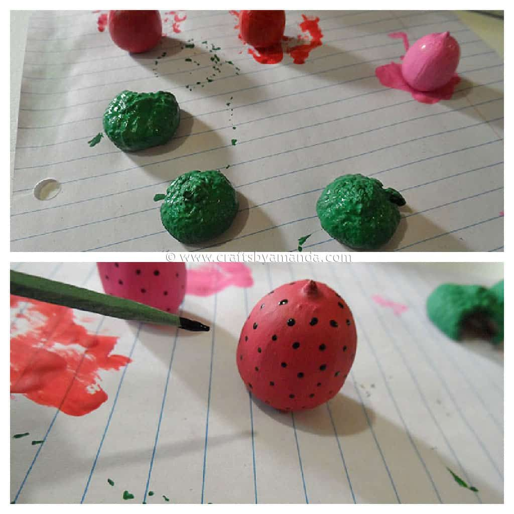 Strawberry Acorn Magnets Steps