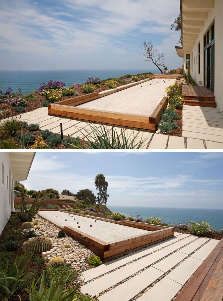 Landscaping Ideas Liven Up Your Backyard With Some Games The Backyard Of This Californian Home Has A Built In Bocce Court That Overlooks The Ocean