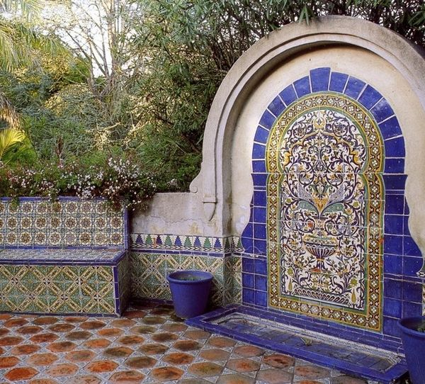 Patio Design Ideas Mexican Tile Decor Bench And Wall