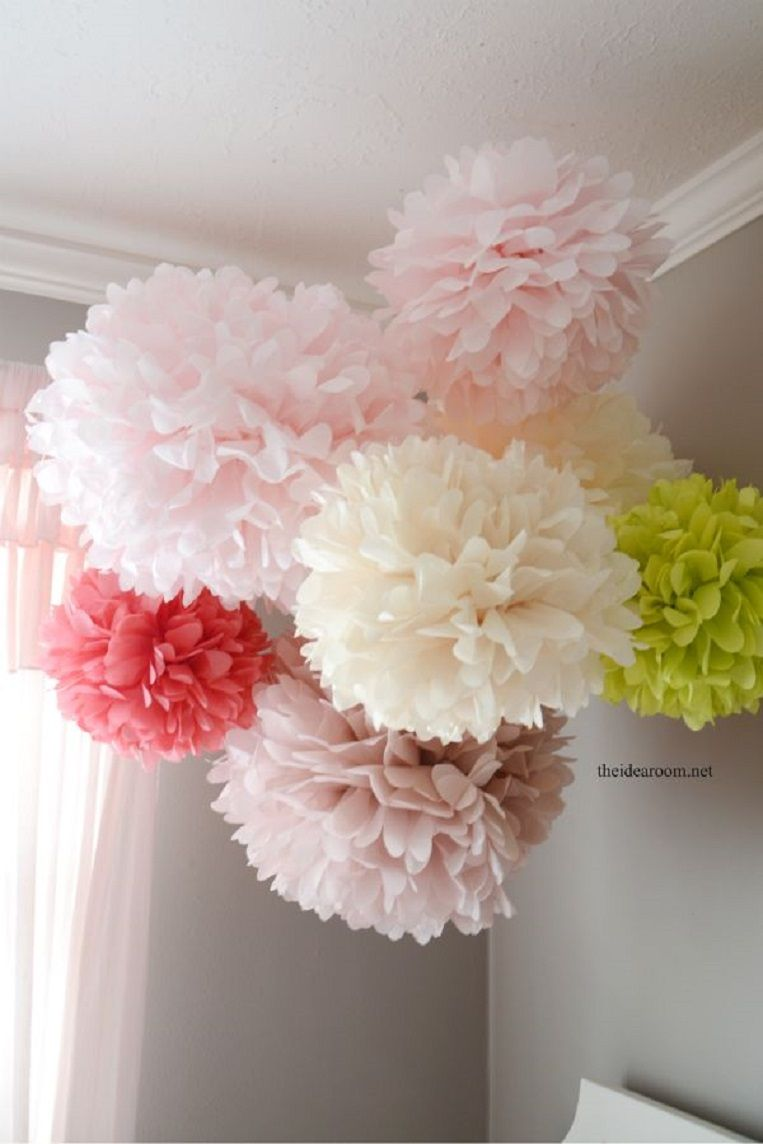 Tissue Paper Pom Poms Tutorial Party Stuff Pinterest Tissue