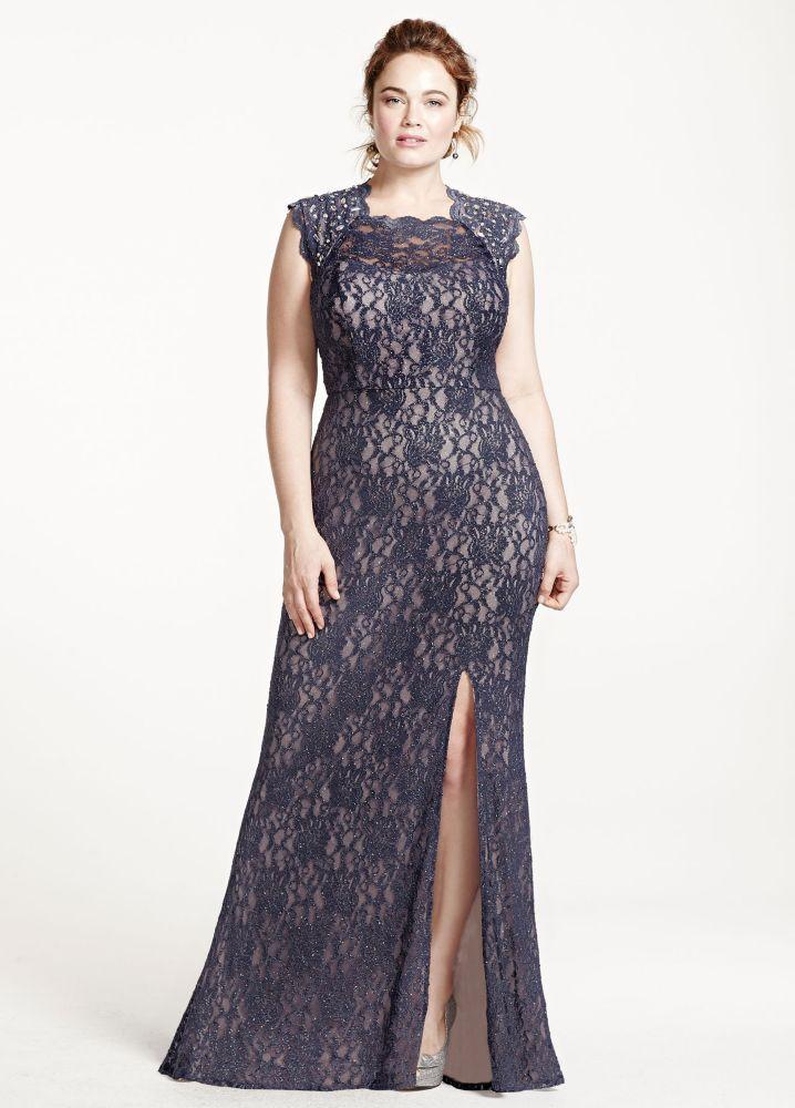9eb7e479060 Plus Size Long Lace Cap Sleeve Dress with Keyhole Back - Steel Blue ...