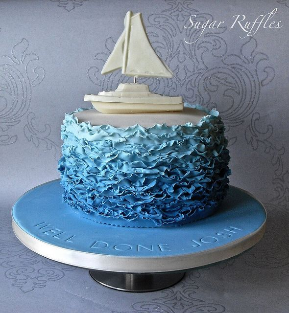 Blue Ombre Ruffle Cake with White Chocolate Boat