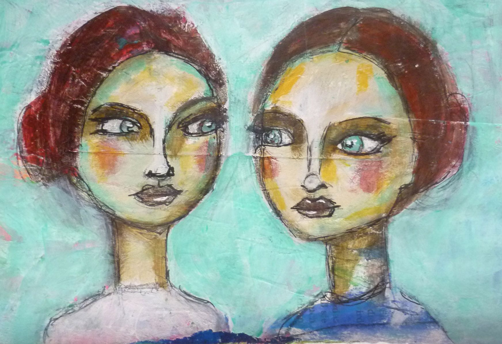 sisters Portrait of a woman, Acrylic painting, Mixed Media Art, Benedicte 2015