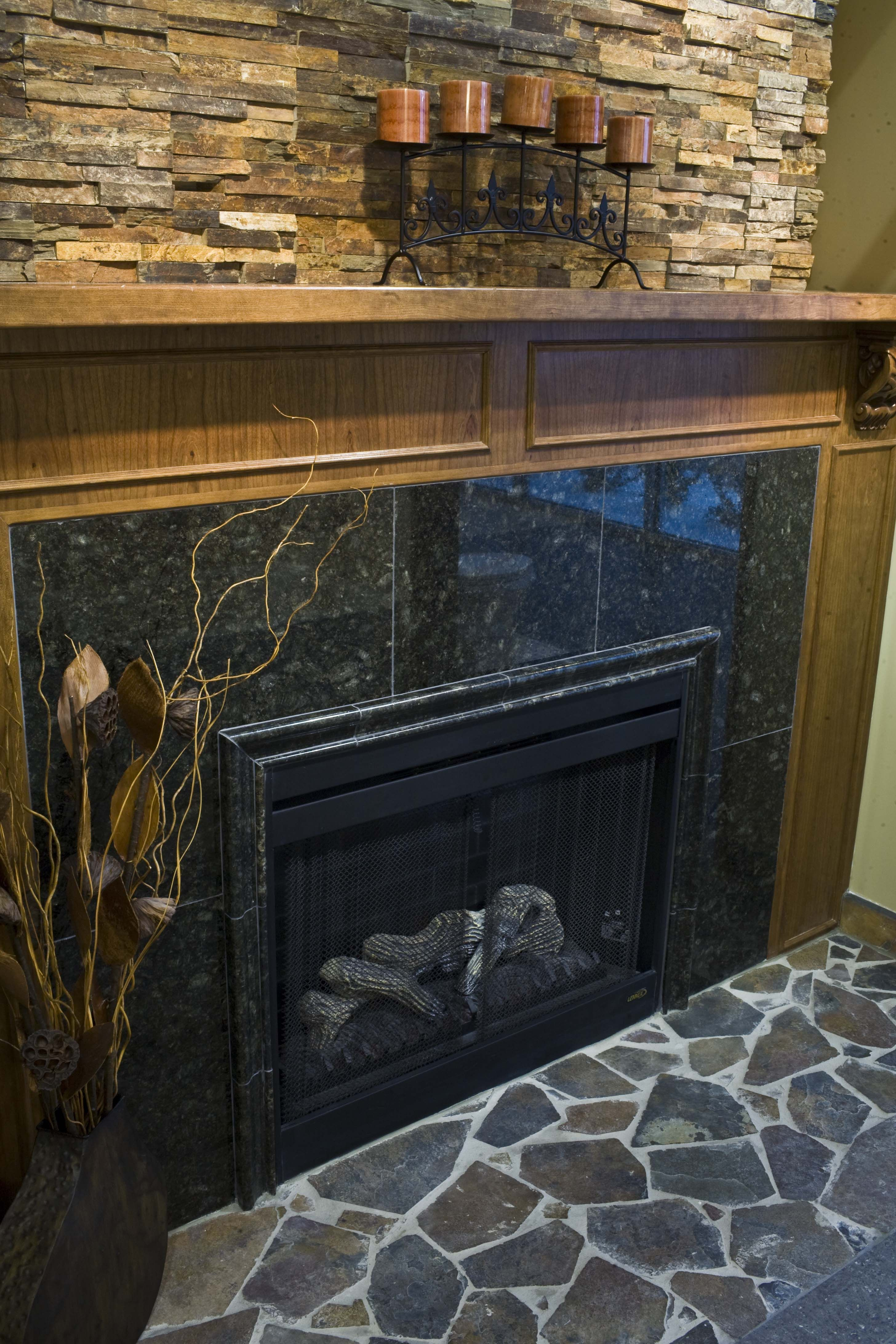 granite and travertine fireplace i like the stone above the fire