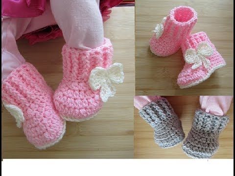 Crochet baby booties tutorial newborn 0-3 months 0-6 months Designed by Happy Crochet Club - YouTube #crochetbabyboots
