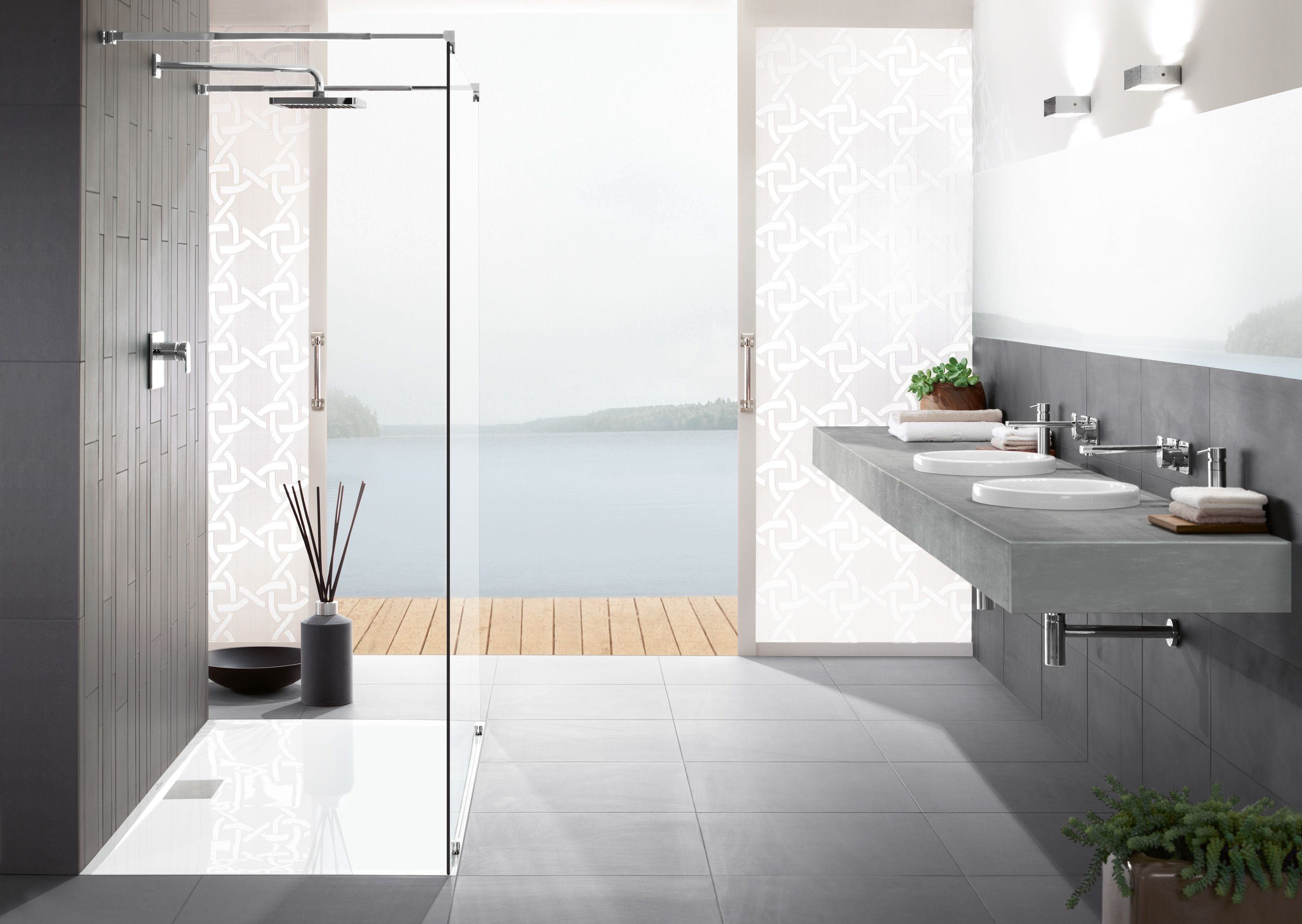 What a sight! The open shower with flat shower tray lends the room ...