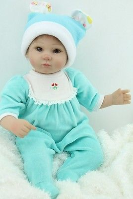 Reborn Babies Silicone Vinyl 46cm Real Baby Soft Dolls with Open Eyes. Free Ship