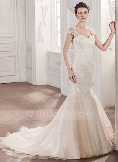 83f5479f44  US  249.99  Trumpet Mermaid Sweetheart Chapel Train Organza Lace Wedding  Dress