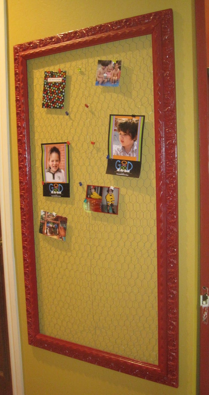 Bulletin board with painted red frame and chicken wire accent is ...