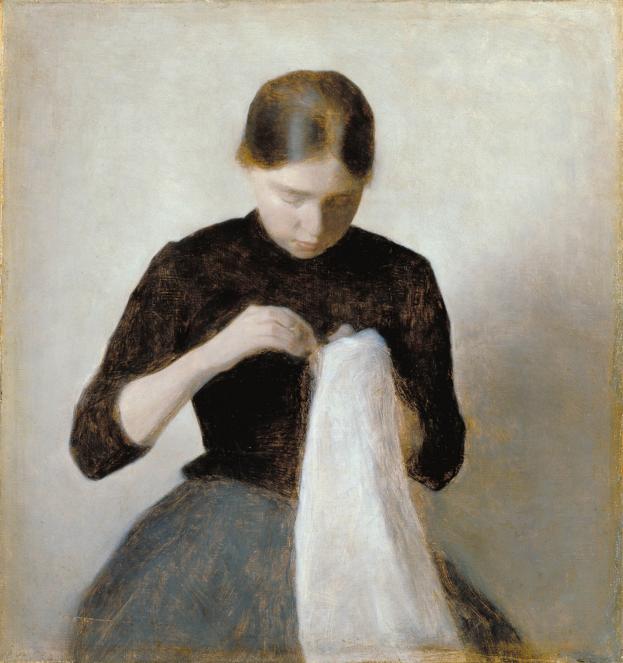 Woman Sewing by Vilhelm Hammershoi Danish (1864 - 1916)