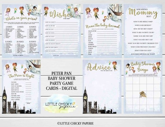 Peter Pan Baby Shower Games Bundle, Printable Baby Shower Games, Bingo, Whats in your purse, Wishes for baby, Advice Cards, name the animal