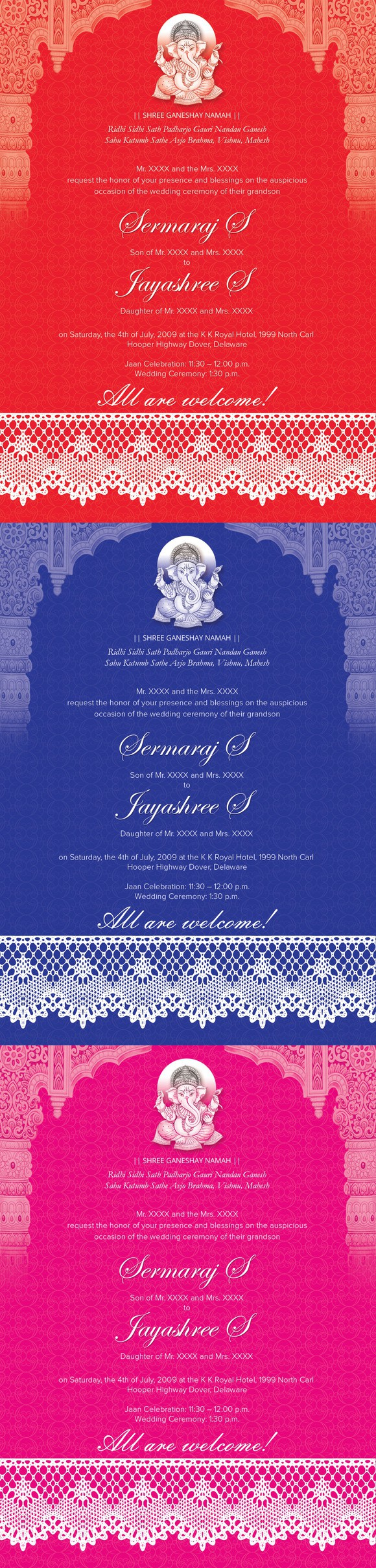 Indian Wedding Card 01 3 Colors Wedding Fonts 10 00 Wedding
