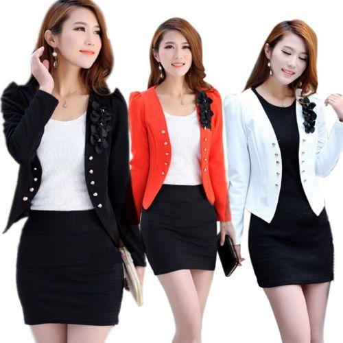 Women Office Lady Short Blazer Slim Suit Jacket Coat Long Sleeve Fl Top A39