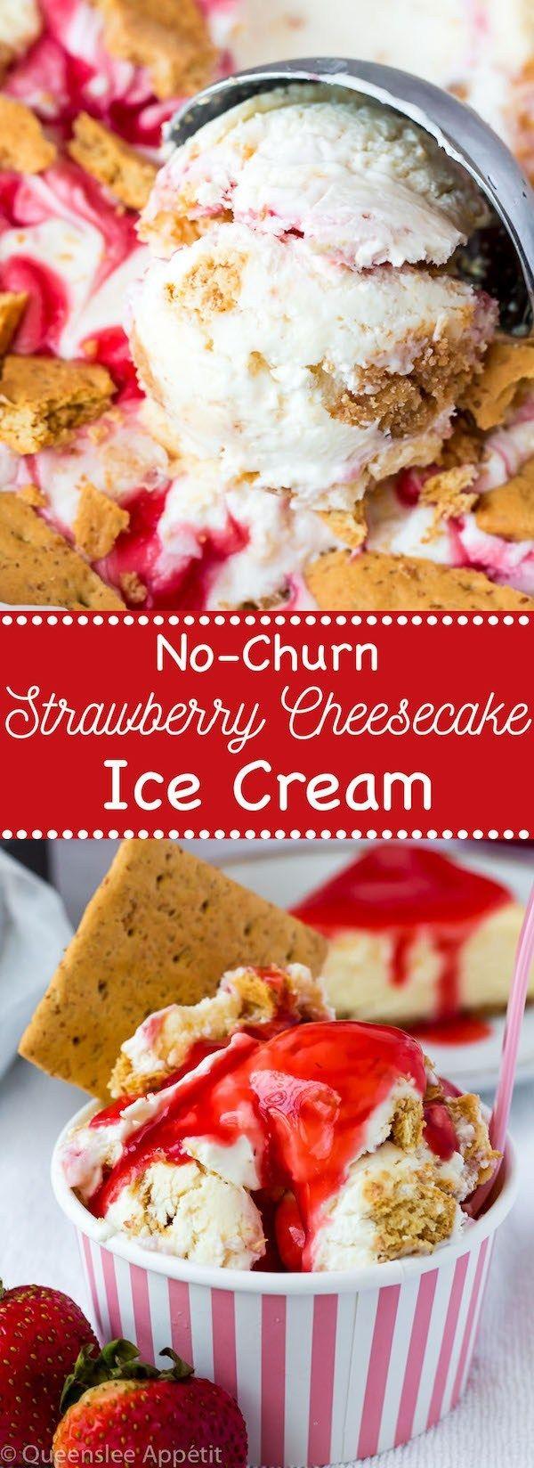 No-Churn Strawberry Cheesecake Ice Cream #cheesecakeicecream