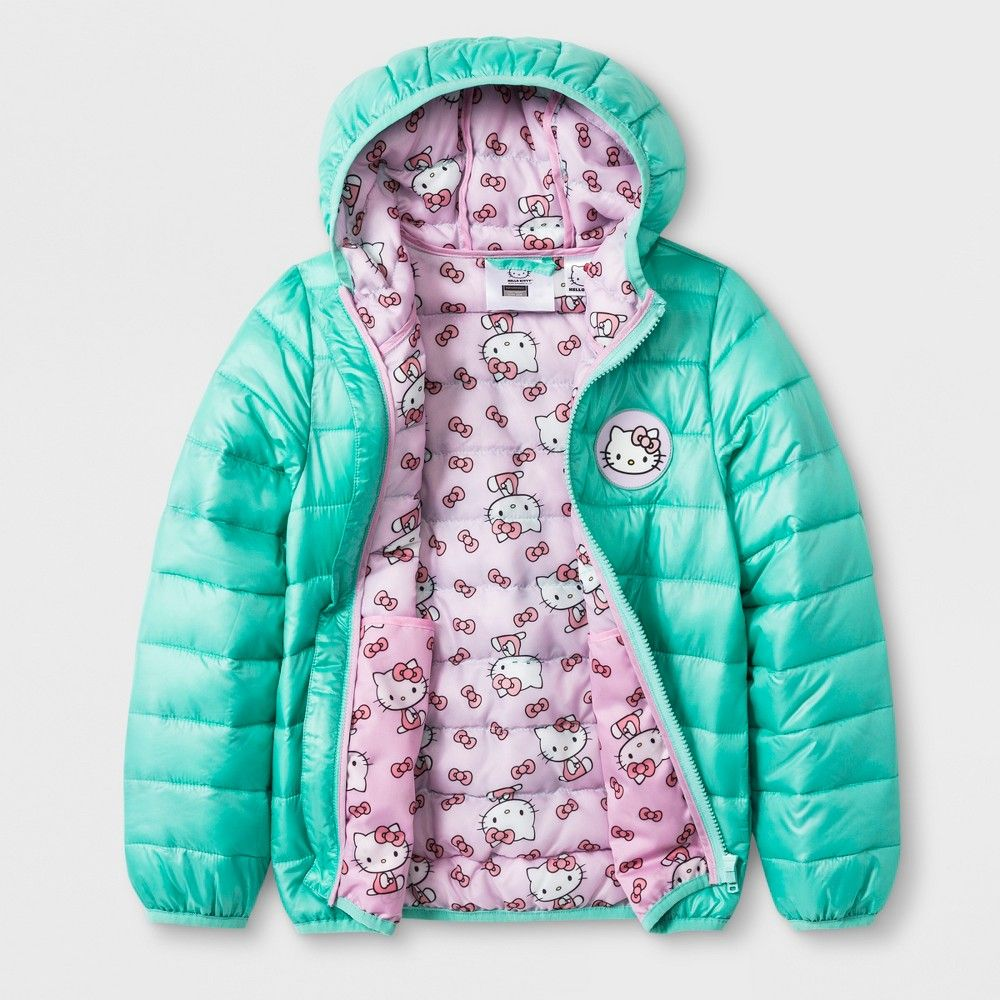 ef16a653b Girls' Hello Kitty Hooded Quilted Jacket - Mint Green 6X | Products ...