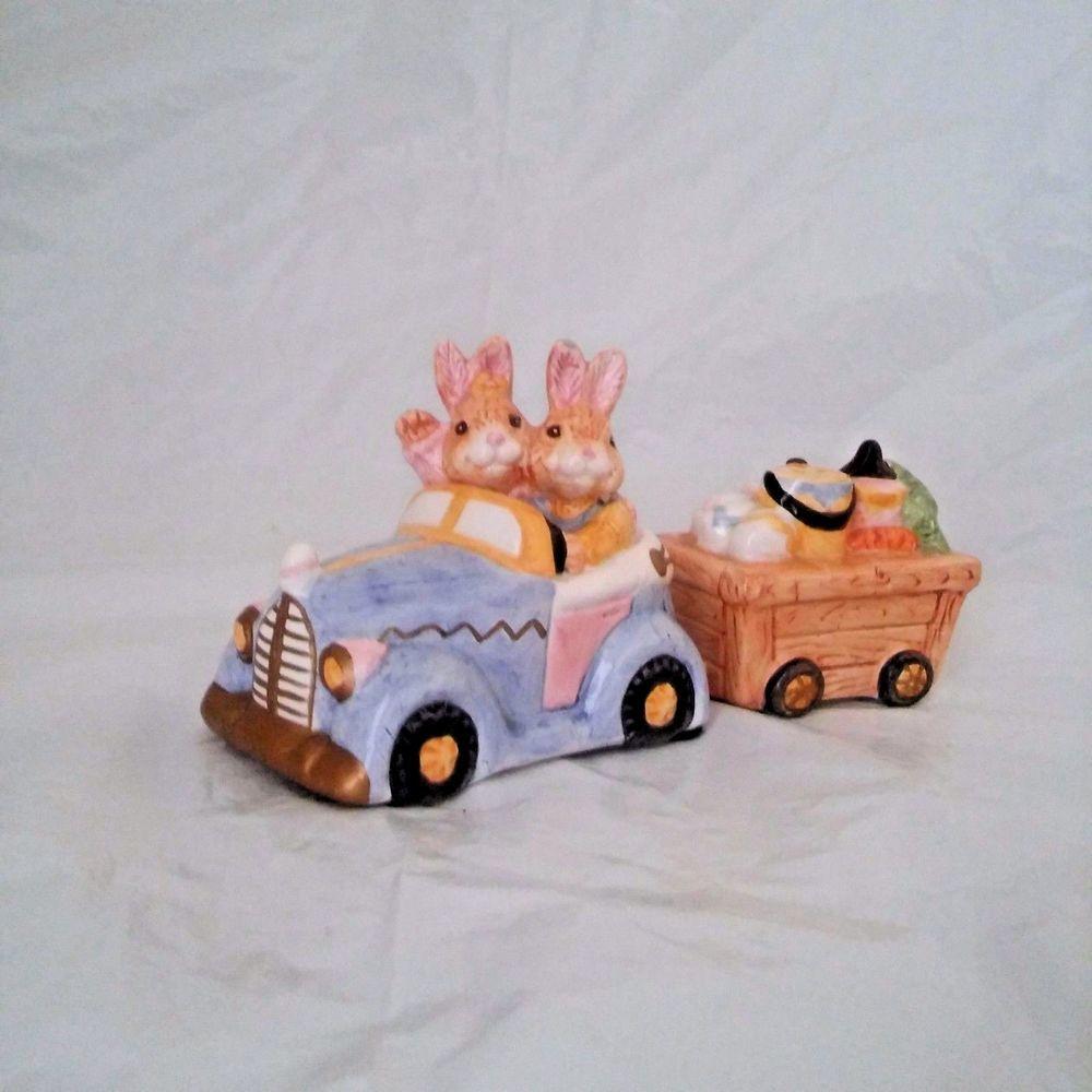 Oci 93 Omnibus Fitz Floyd Bunny Rabbits Salt Pepper Shakers Car Easter Egg Cart