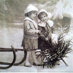 Servítka - Sagen - Vintage deti v zime